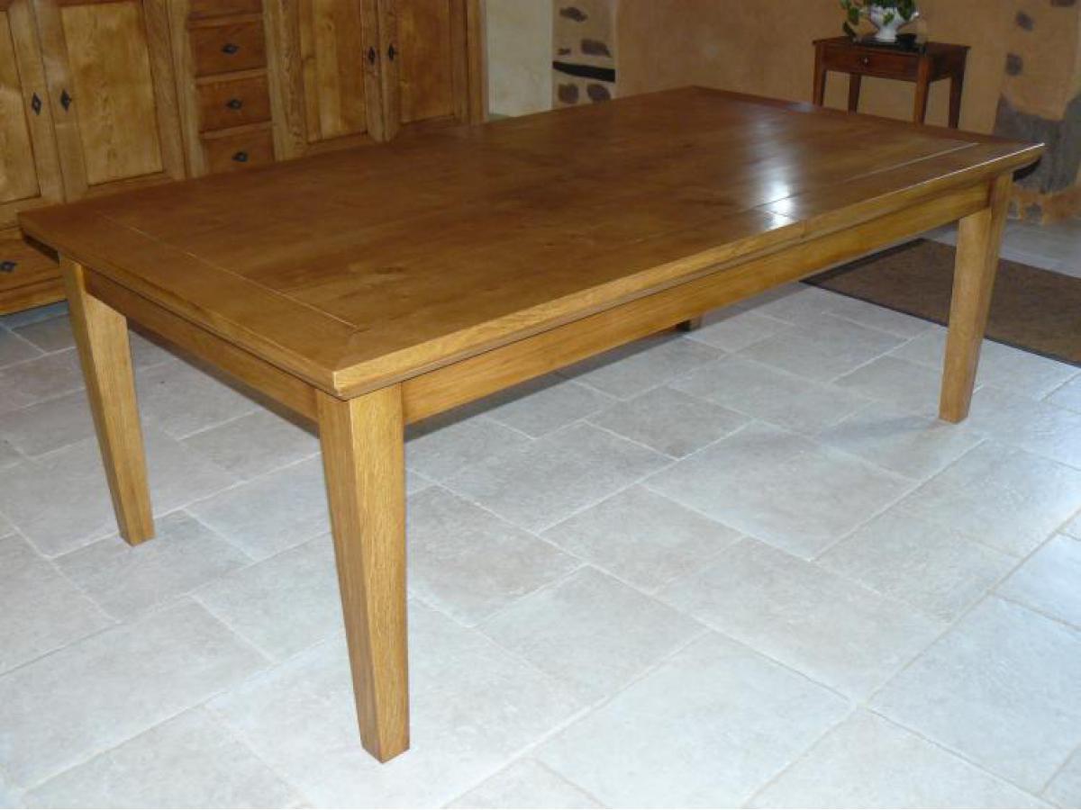 Table en chêne rectangulaire avec allonges