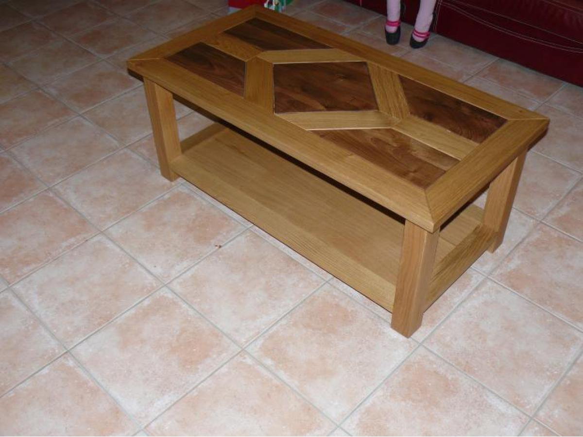 Table de salon en chêne avec plateau noyer/chêne